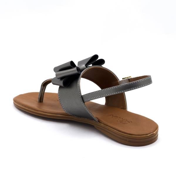 Gri Renkli Kurdeleli Sandalet