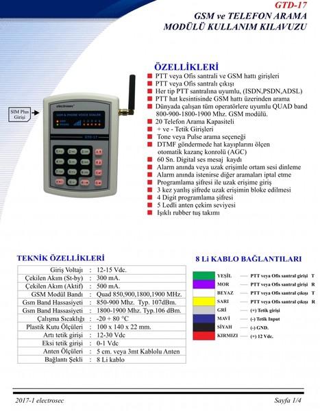 GTD-17 Gsm / Telefon Arama Modülü fiyatı