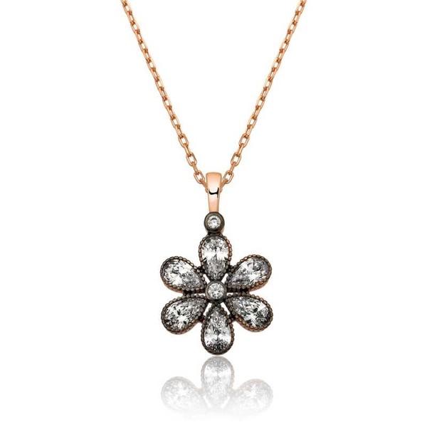 Gümüş Elmas Montür Çiçek Kolye fiyatı