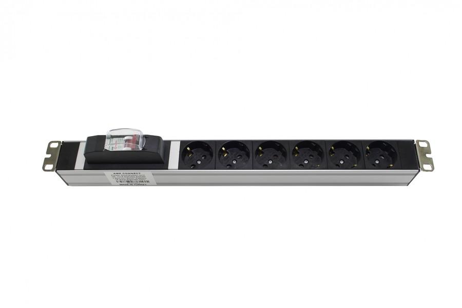"""19"""" 1U 6 Lı Schuko Sigortalı Aluminyum Rack Kabin Grup Priz Pdu özellikleri"""