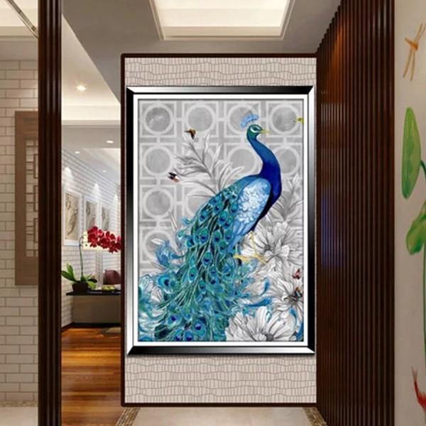 5D Elmas Boyama Tavus Kuşu Diamond Painting Kit Mozaik Tuval Seti en ucuz